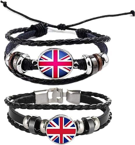 PUNK FASHION Handmade Leather Braided Surfer Wristband Bracelet Bangle london uk