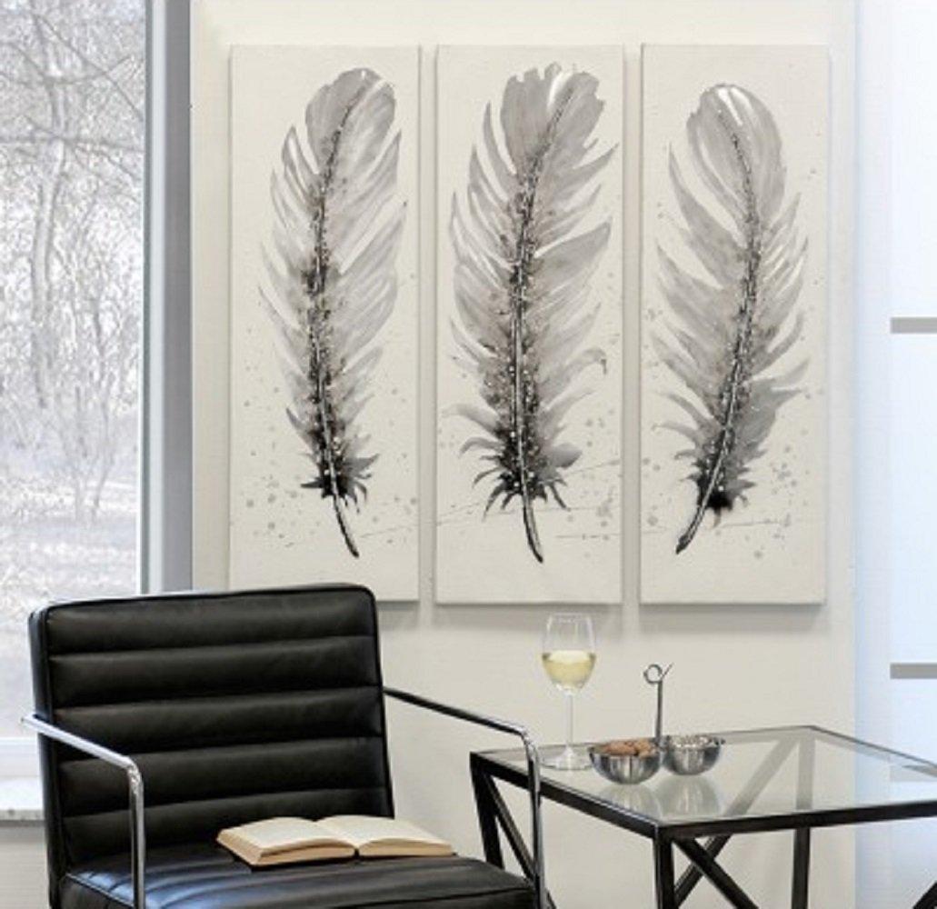 Ölbild FEDERN Feder aus Leinen Holz Metall in weiß weiß weiß grau braun silber Höhe 90 cm (links) d26fd0