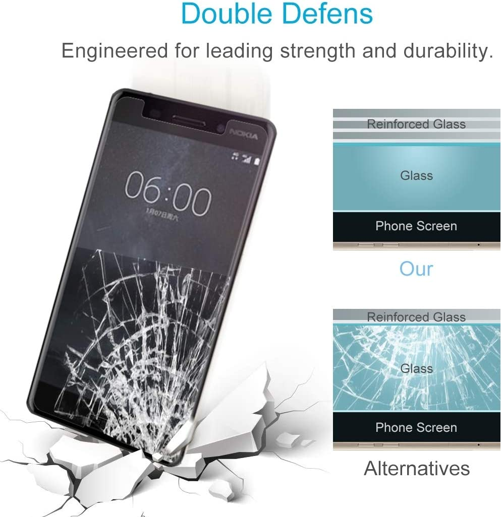 GzPuluz Glass Protector Film 100 PCS for Nokia 6 0.26mm 9H Surface Hardness 2.5D Curved Tempered Glass Screen Protector Film