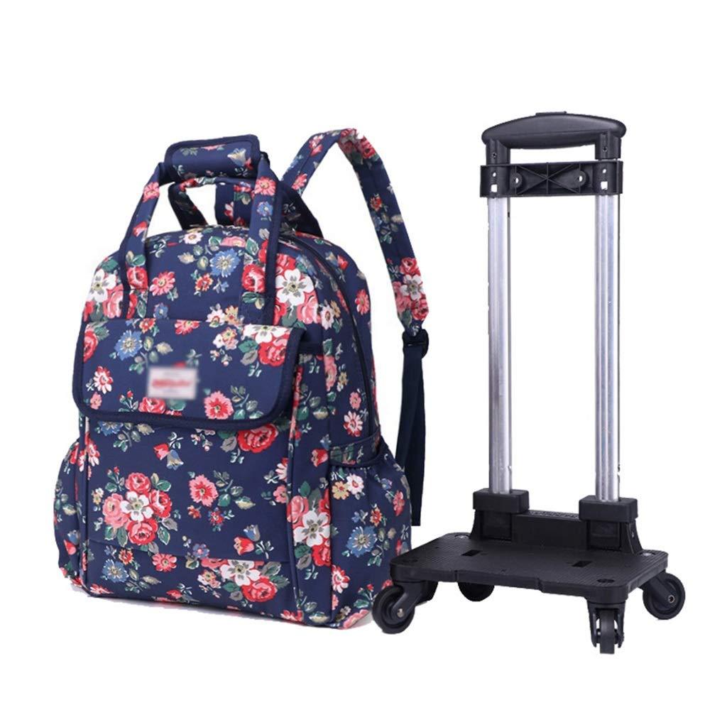 取り外し可能なバックパック、子供用スクールバッグ教科書文具箱収納袋防水布ユニバーサルホイールデザイン (色 : A) B07S8C3BSV