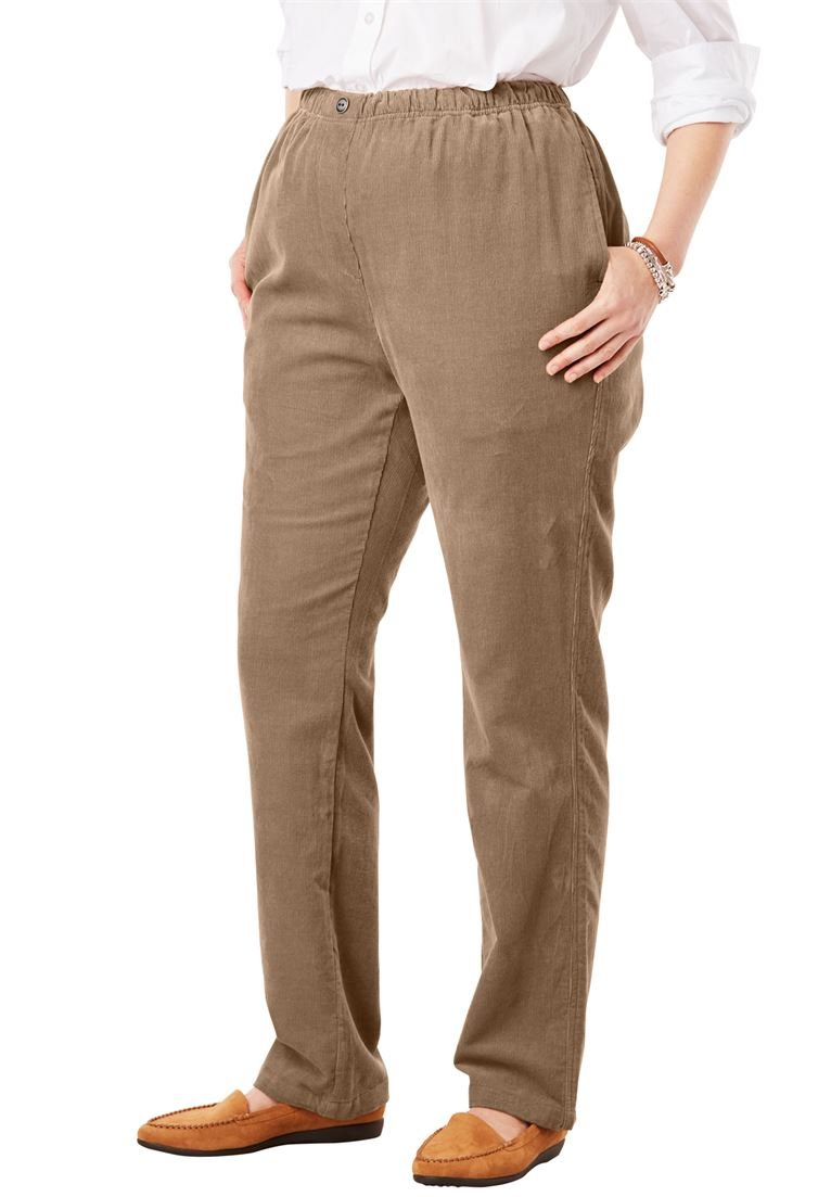 Women's Plus Size Petite Comfort Waist Straight Leg Corduroy Pant
