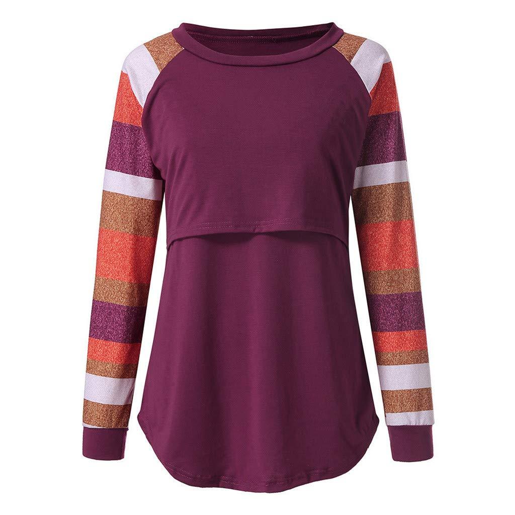 Wenttady Womens Maternity Tops Breastfeeding Nursing Shirt Stripe Long Sleeve Round Neck Long Blouse