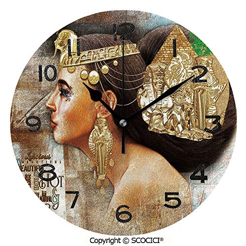 - SCOCICI Print Round Wall Clock, 10 Inch Woman Queen Cleopatra Profile Historical Art Scene with Ancient Pyramid Sphinx Decorative Quiet Desk Clock for Home,Office,School
