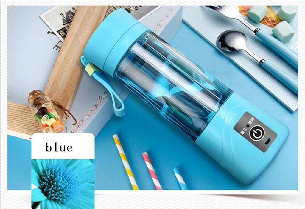 AN-LKYIQI Exprimidor eléctrico portátil de cuatro hojas para uso doméstico mini fruta cocina máquina taza de jugo de leche de soja , blue: Amazon.es: ...