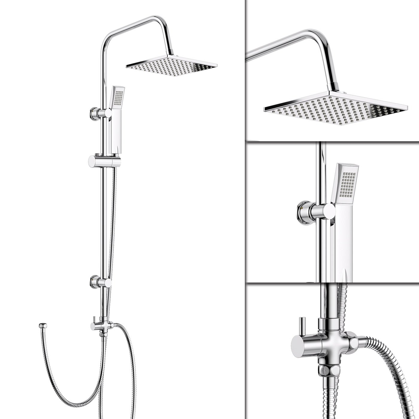 Dual Shower Head Kit Large Chrome Thin Shower Heads Dual