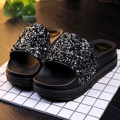 fankou Cool Zapatillas Gruesas Zapatillas de Perforación Brillante Hembra bizcocho con Zapatillas de Playa Verano Cosas Salvajes Zapatillas Hembra Negro