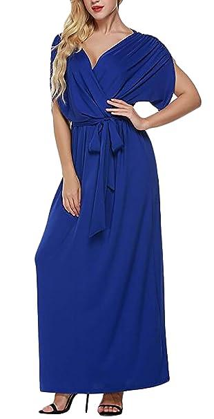 Mujer Vestidos De Fiesta Largos De Noche Verano Manga Corta V Cuello Talle Alto Tallas Grandes