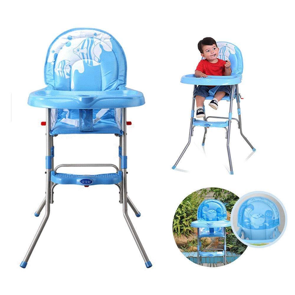 H/öhenverstellbar Klappbar Babyhochstuhl mit Tablett WUPYI2018 Baby Kinderhochstuhl Blau-1