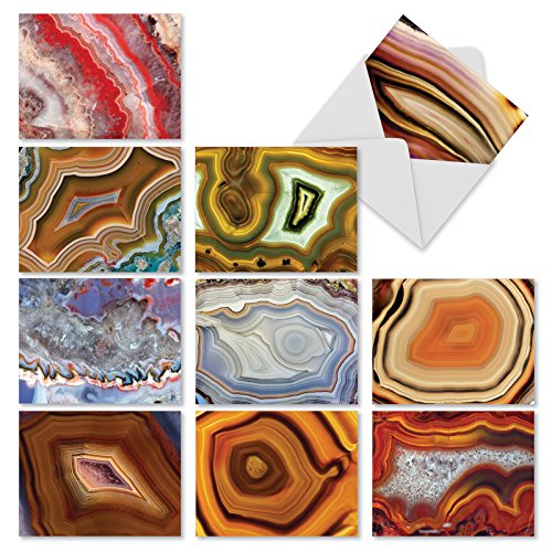 Assorted Volcanic Stones (M1547BN Semi-Precious: 10 Assorted Blank All-Occasion Note Cards Feature the Beauty of Cut and Polished Geodes, w/White Envelopes.)