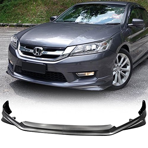 Front Bumper Lip Fits 2013-2015 Honda Accord | Modulo Style Black PP Front Lip Finisher Under Chin Spoiler Add On by IKON MOTORSPORTS | 2014 (Accord Honda Spoiler Front)
