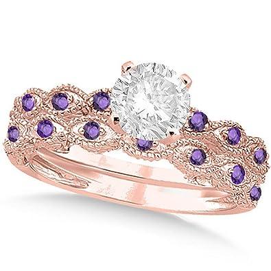 Amazon Com 14k Gold Vintage Diamond And Amethyst Engagement Ring