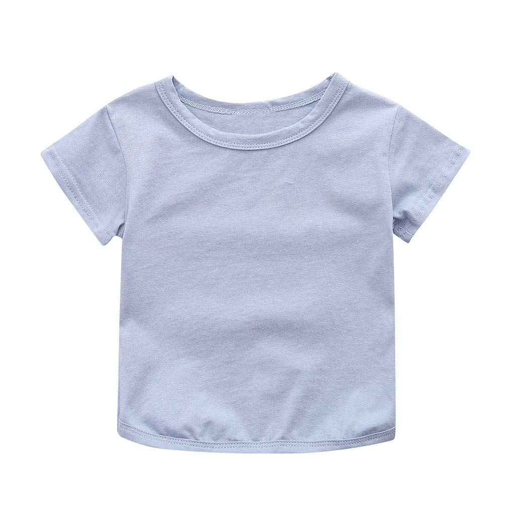 Toddler Baby Boys Girl T-Shirt Summer Solid Crewneck Short Sleeve Soft Casual Basic Shirt Tops (Blue, Recommended Age:2-3 Years)