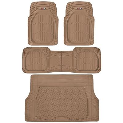 Motor Trend 4pc Beige Car Floor Mats Set Rubber Tortoise Liners w/ Cargo for Auto SUV Trucks: Automotive