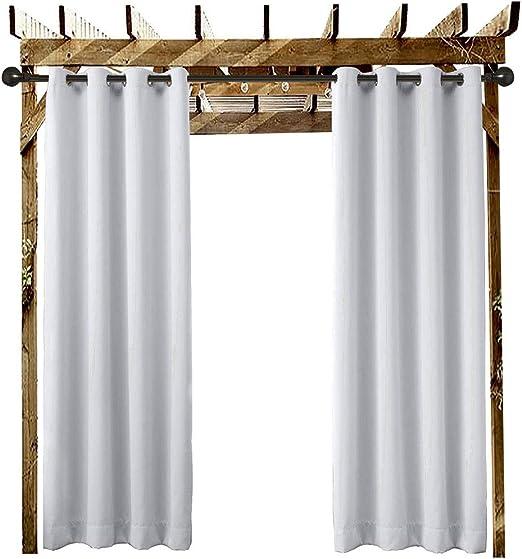 BAJIAN-LI - Cortina con ojales para exteriores, antiUV, antiviento, resistente al agua, resistente al moho, duradero, fácil de limpiar, cortinas para zonas privadas y globos de jardín (1 panel): Amazon.es: Jardín