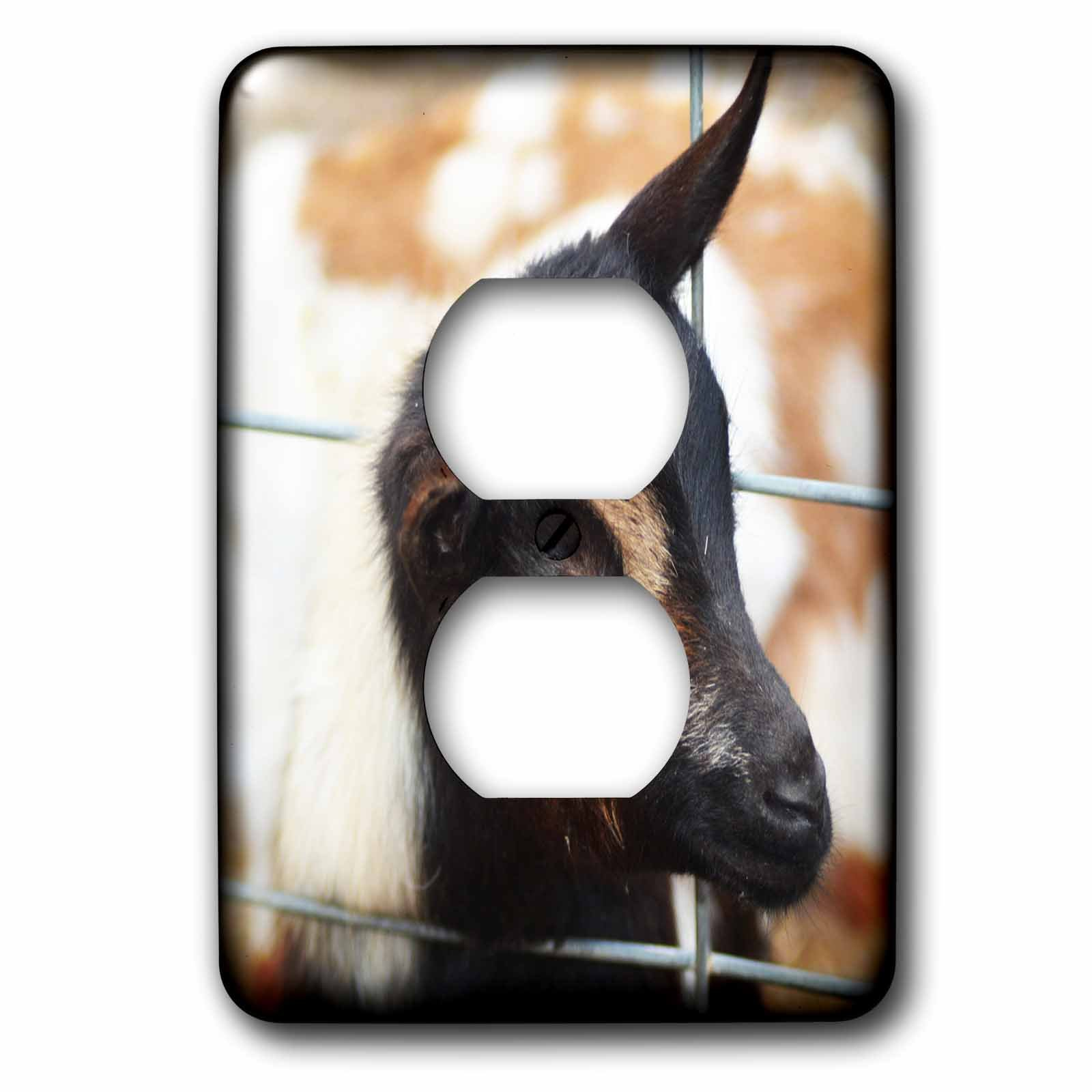 3dRose WhiteOaks Photography and Artwork - Goats - Spooky Eye Goat is a close up of a goat showing its eye - Light Switch Covers - 2 plug outlet cover (lsp_265345_6)