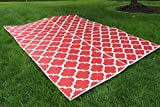 """Santa Barbara Collection 100% Recycled Plastic Outdoor Reversable Area Rug Rugs White red Trellis san1001red 8"""" x 10'2 - Made in USA"""