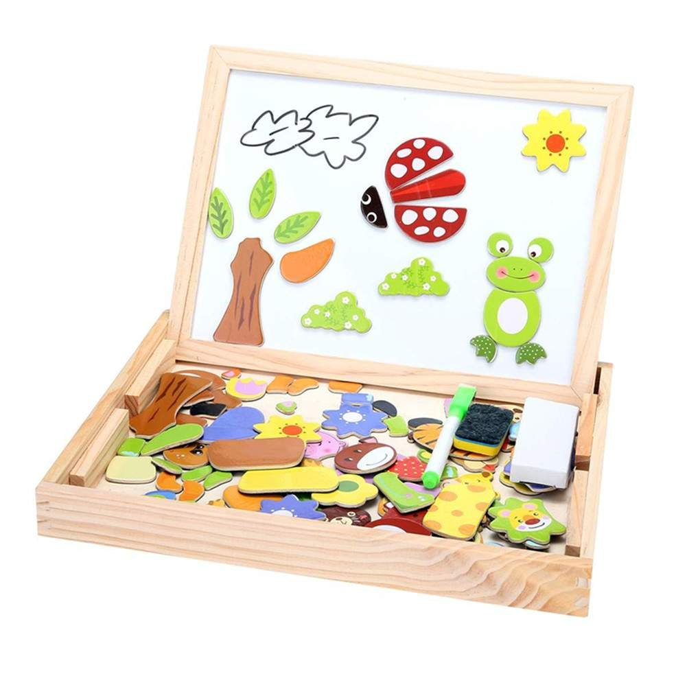 Wooden Toys Animal Easel Doodle Drawing Board Jigsaw Blackboard Toy For Children China ZE016699