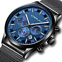 CRRJU Mens Stainless Steel Quartz Watch