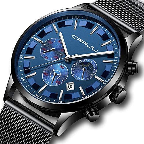 Stainless Steel Buckle Dial (CRRJU Men Mesh Watch Men Business Chronograph Quartz Wrist Watch Waterproof Sport Clock Black Blue)