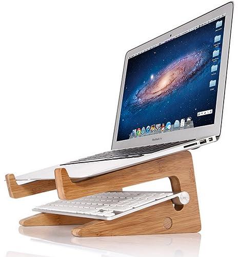 OUTOWIN Creativa Bambú Soporte Para Portátil Vertical Dock - Ergonómico Ordenador Soporte De Escritorio Disipación De Calor ...