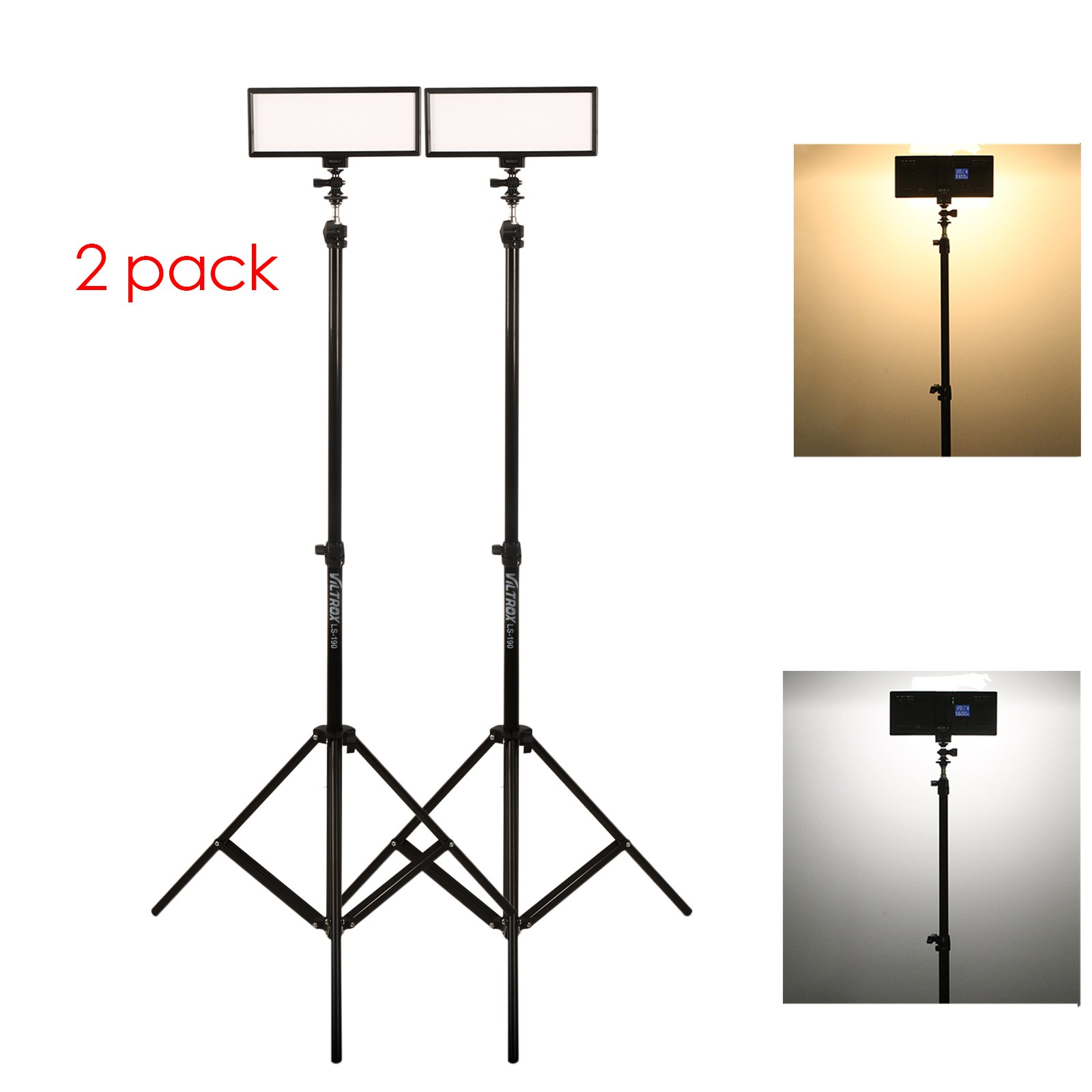 ( 2 pack) VILTROX video lighting kit,L132T LED Light with light Stand, 2m AC adapter, 0.78''/2cm Ultra Thin CRI95 5600K/3300K LED Video Light Dimmable Flat Panel Light