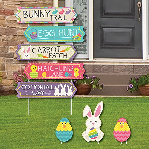 (Hippity Hoppity - Street Sign Cutouts - Easter Bunny Party Yard Signs & Decorations - Set of 8)