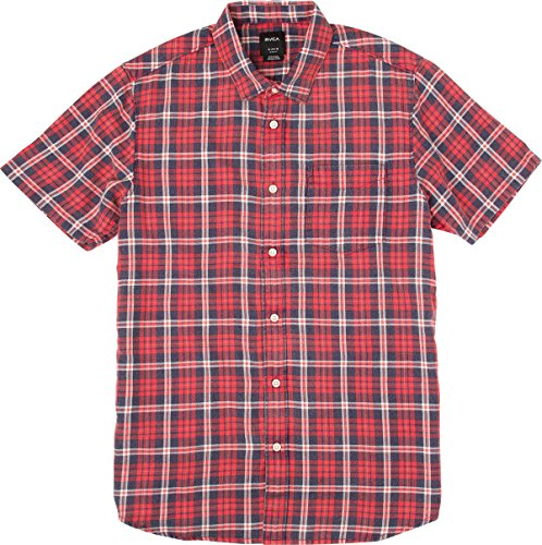 RVCA Men's Sid Short Sleeve Woven Shirt, Pompeii Red, Large ()