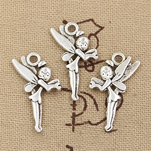 40pcs Charms Angel Fairy Tinkerbell 25x15mm Antique Making Vintage Tibetan Silver Zinc Alloy - Tinkerbell Charm Fairy