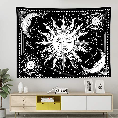 Sun and Moon Tapestry Wall Tapestry Black Tapestry Wall Hanging for Wall Art and Home Decor for Bedroom, Living Room, College Room Décor (51.2\
