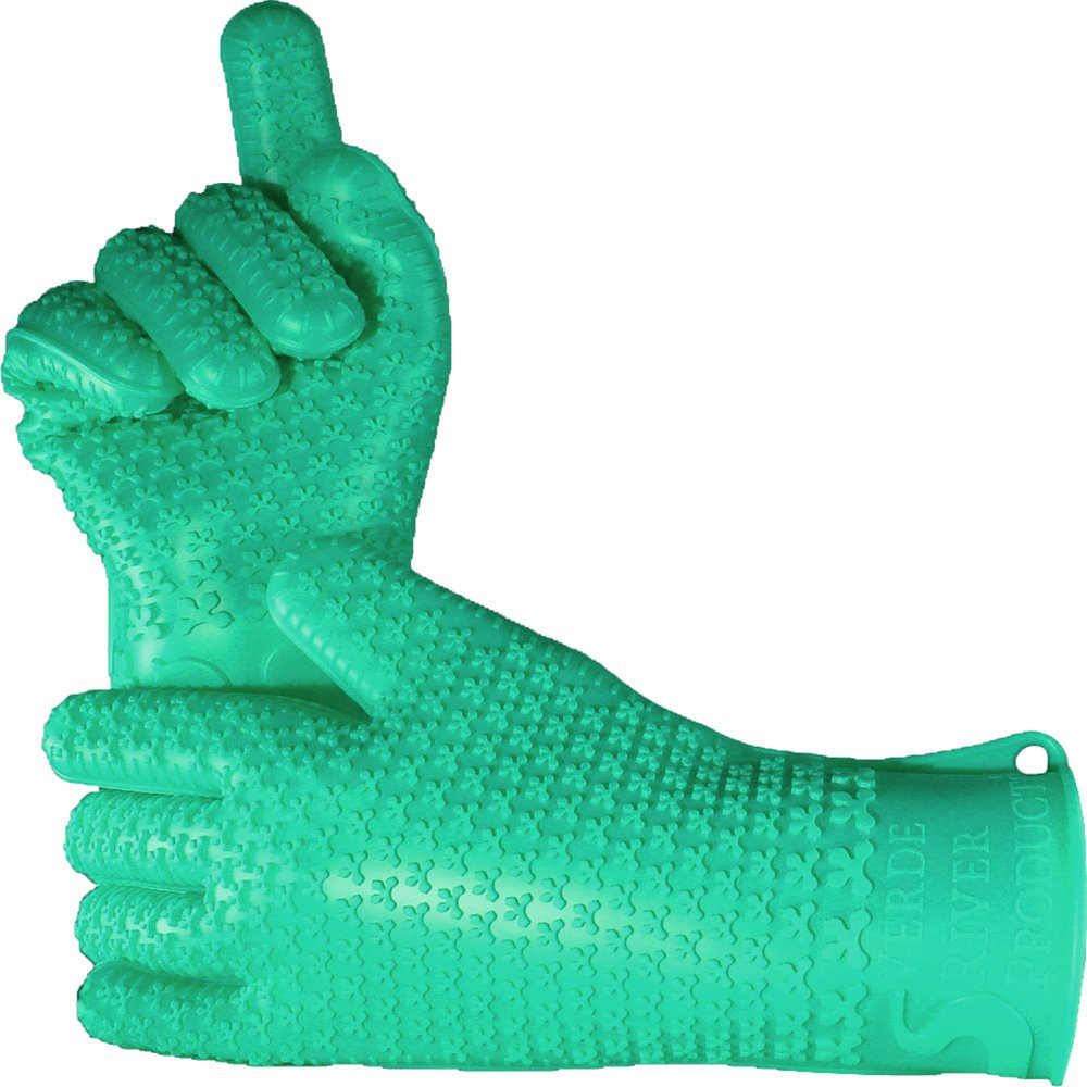 Verde River Products Gecko Grip Gloves, Silicone Heat Resistant Grilling BBQ, Oven, Grill, Baking, Smoking Canning and Cooking Gloves, Small, Moss