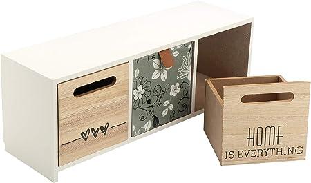 Druline 1x Mini Kommode Mobile Com/ò Bianco Naturale Menta Legno 40,5 cm x 26,5 cm x 11,5 cm 4 Cassetti