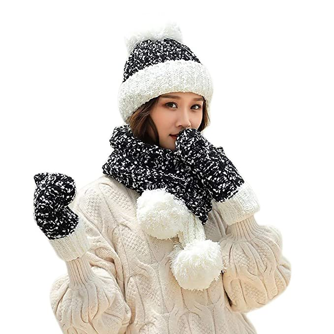 3e44bf19795dd4 TOTOD Caps+Scarf+Gloves Suit Women Crochet Hat Fur Woolen Knit Thick Cable  Knitted