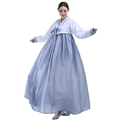 Lemail Womens Korean Hanbok Dress Long Sleeve Traditional Costume Grey S CC569C
