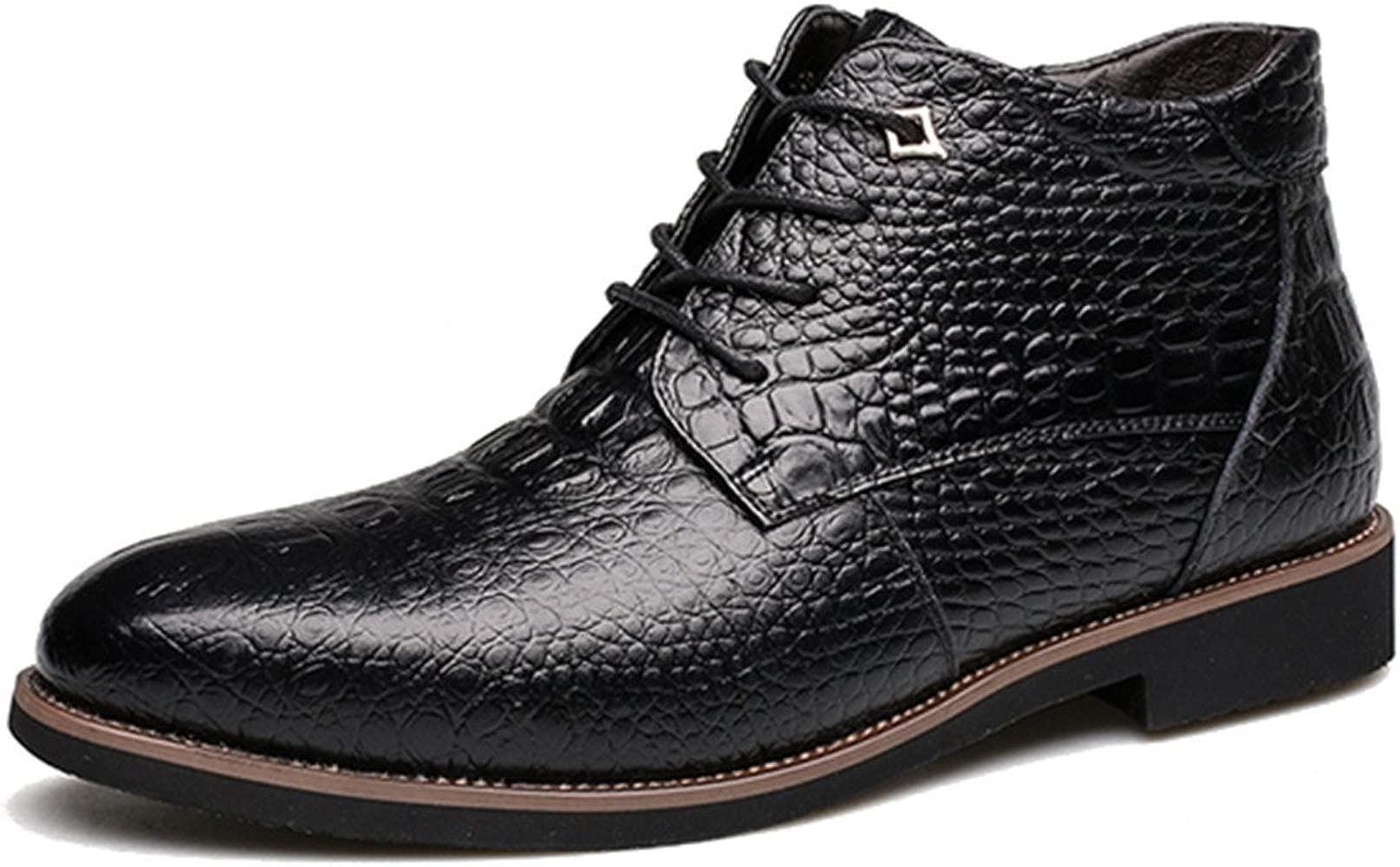 Botas de Cuero de los Hombres, gracosy Hombres Calzados Oxford Zapatos De Capucha Patrón Cocodrilo Botas Martin Estilo Británico Casual Clásico Cuero