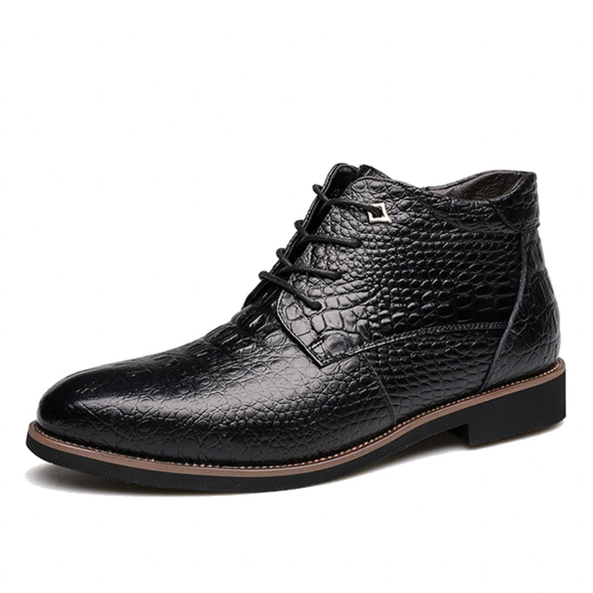 d7d17e01d9d gracosy Men's Leather Boots, Winter Warm Fur Lining Oxford Shoes Crocodile  Pattern Lace Up Handmade Boots Martin British Style Leather Work Formal ...