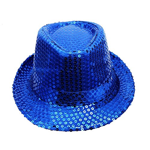 (NszzJixo9 Sequined Hat,Hat Hat Dance Stage Show Performances,Gangster Panama Classic Vintage Short Brim Style Shining Headwear (Blue))