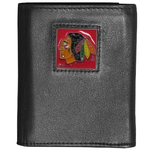 (NHL Chicago Blackhawks Genuine Leather Tri-fold Wallet)