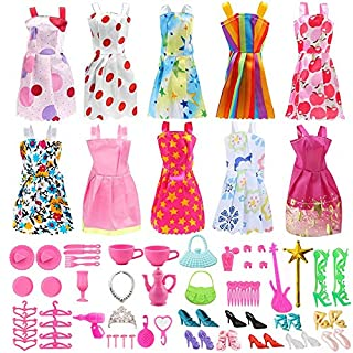 Doll Clothes for Barbie Dresses Gown with Shoes Outfit Set for Xmas Birthday Gift(69 Pack)