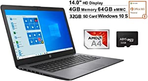 "Newest HP Stream 14"" HD WLED-Backlit Laptop, AMD A4-9120e, 4GB DDR4, 64GB eMMC, Webcam, Bluetooth, USB 3.1, HDMI, Windows 10 S, Black + 32GB MicroSD Card, Office 365 and OneDrive (1TB Cloud Storage)"