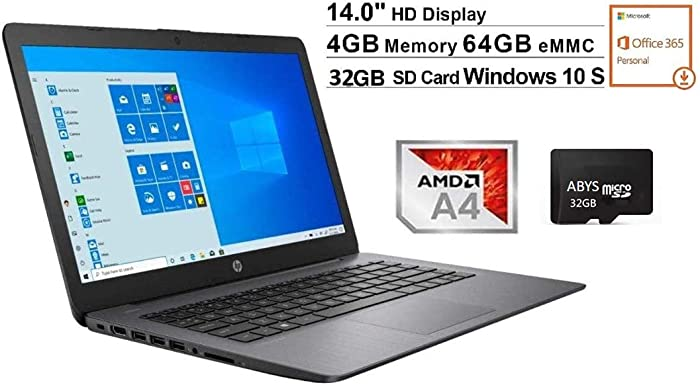 "Newest HP Stream 14"" HD WLED-Backlit Laptop, AMD A4-9120e, 4GB DDR4, 64GB eMMC, Webcam, Bluetooth, USB 3.1, HDMI, Windows 10 S, Black + 32GB MicroSD Card, Office 365 and OneDrive (1TB Cloud Storage)"