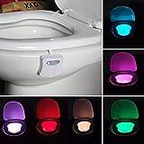 Feichen Lampe de Toilette LED Veilleuse Capteur Détecteur PIR 8 Changement de Couleurs Éclairage Cuvette Siège Cabinet d'Aisance Salle de Bain WC Lavabo