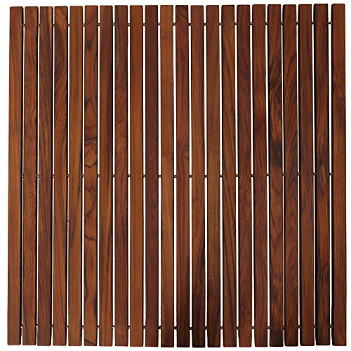 Teak Insert - Bare Decor Fuji String Spa Shower Mat in Solid Teak Wood Oiled Finish. XL Square 30