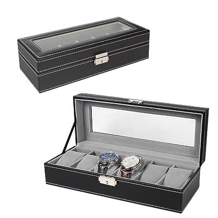 Amazoncom 6 Slot Leather Watch Box Display Case Organizer Glass