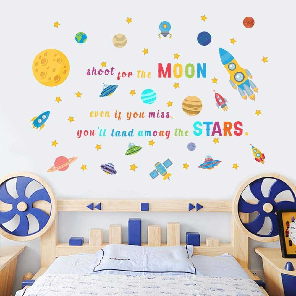 IARTTOP Colorful Space Wall Decal, Watercolor Outer Space Rocket Planets Wall Stickers for Kids Room Nursery Decor