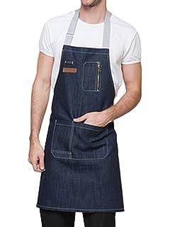94efb6f05a5 Feoya Unisex Delantal Denim con Bolsillos Mandil Mandil para Camareros  Trabajo Restaurante Cafetería 62 * 60cm