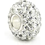 One Genuine Solid Sterling Silver (925) Plate Clear Crystal Bead Charm (Size 8x13mm) - To Fit Pandora, Biagi, Chamilia and Similar 3mm European Bracelets