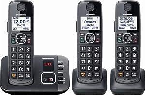 Panasonic - KX-TGE633M DECT 6.0 Expandable Cordless Phone System Digital Answering System - Metallic Black