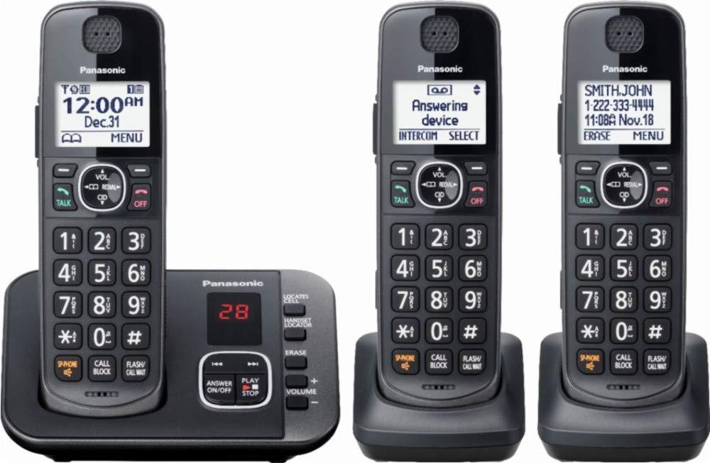 Panasonic - KX-TGE633M DECT 6.0 Expandable Cordless Phone System Digital Answering System - Metallic Black by Panasonic (Image #1)