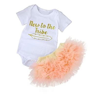eaae576407a3 Iuhan 2PCS Letters Baby Girls Short Sleeve Romper Jumpsuit+Kids Skirt Set  Clothes - White -  Amazon.co.uk  Clothing