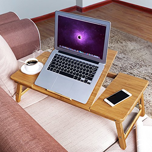SONGMICS Large Right-Left Handed Laptop Desk Bamboo Bed Tray Tilting Top Drawer ULLD004